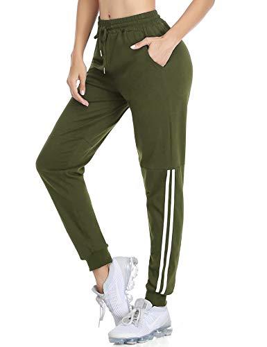 Doaraha Pantaloni Sportivi Donna, Pigiama Pantaloni in Cotone 100% Donna da Casa, Pantaloni Tuta Donna Vita Alta Elasticizzati, Pantaloni Ginnastica Casual da Sport a Coulisse, Verde Militare, S