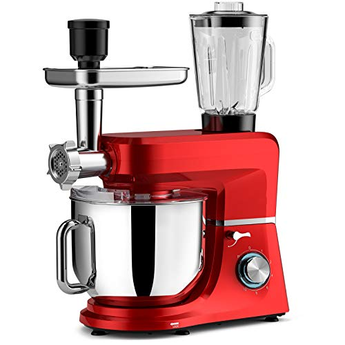 COOKDEYI Stand Mixer Electric Cake Mixer 10-Speed 8L 1500W Food Mixer Dough Blender with Dough Hooks,Bowl,Beater, Whisk and Cover & Dishwasher Safe