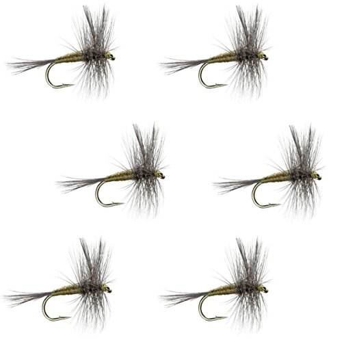 The Fly Fishing Place Blue Winged Olive BWO Classic Trout Dry Fly Fishing Flies - Set of 6 Flies Size 16