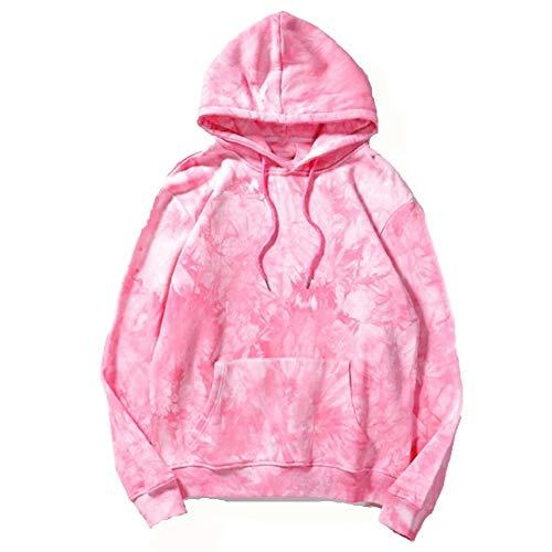 U/A Tie dye Gradient Sudadera con capucha suelta coreana versátil abrigo con felpa manga larga