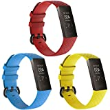 Compatible for Fitbit Charge 4 / Fitbit Charge 3 / Charge 3 SE, Soft Silicone Replacement Wristband Sport Band for Women Men,Small and Large