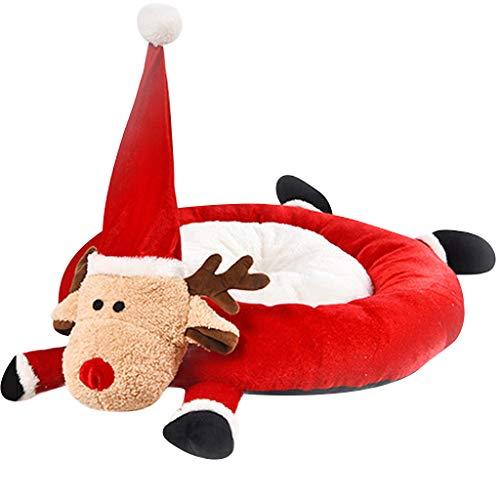 Yowablo Nettes Katzenhaus halb geschlossenes Weihnachten warmes weiches Winter-Haustier-Hundelch-Karikaturbett (45cm X 40cm X 57cm,Rot)