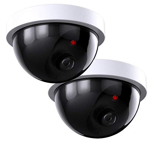 SZYAN Dummy Security Cameras, Fake Surveillance Camera Simulated CCTV Dome with Flashing Red Light Wireless Lens for Home, Outdoor, Indoor, Business, 2 Packs