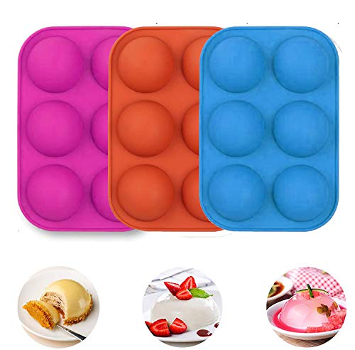 3Pack Half Ball Sphere Cake Silicone Mold, Festival Party Food Grade Silicone Cake Mold Muffin...