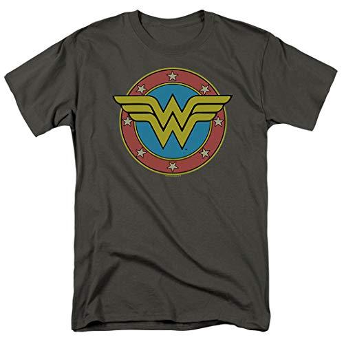 Wonder Woman Vintage Logo DC Comics T Shirt & Stickers (Medium) Charcoal