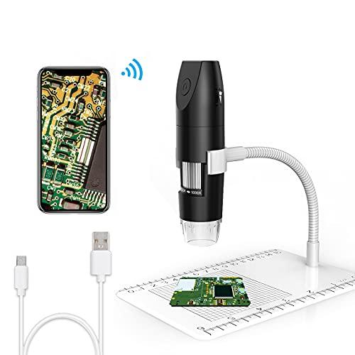 Digitales Mikroskop, USB Mikroskop Handmikroskop WiFi 50X-1000X Vergrößerung 1080P Kamera 8 LEDs für Android, iOS, Tablet, MAC, Windows