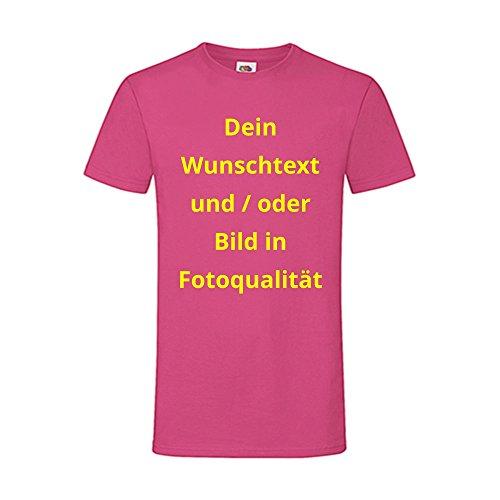 Männer T-Shirt Bedrucken - Text und Bild individuell auf Ihr T-Shirt Drucken Lassen | Personalisiert Farbe Fuchsia, Größe L