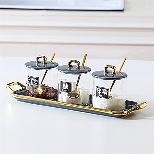 Cucina ceramica stagionatura vaso condimento piatto sale shaker condimento bottiglia zucchero ciotola condimento scatola set barbecue peperoncino (Color : Picture 7)