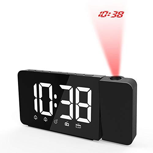 Bedler Reloj de Alarma de proyección LED operado por USB Regulable Radio FM Reloj de Escritorio con proyector Giratorio Alarmas Dobles Función de Despertador - Blanco Despertador de proyección