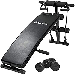 TecTake Sit-up Bank abdominal trainer - total dimensions (LxHxB): approx. 129 x 70 x 55 cm - foldable & adjustable incl. Padded leg fixation and 2 dumbbells and training ropes