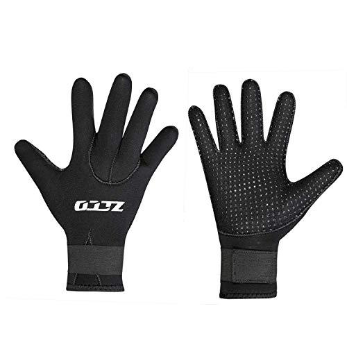 ZCCO 3mm Neopren Tauchhandschuhe,doppelschichtige Thermo-Neoprenanzughandschuhe mit elastischem Handgelenk und rutschfesten Partikeln zum Tauchen,Surfen,Schnorcheln(ST-3mm,XL)