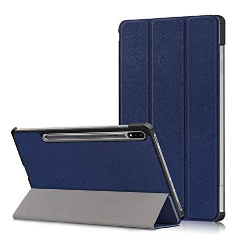 Tiggo - Funda para Samsung Galaxy Tab S7 FE 12.4 pulgadas 2021 (modelo SM-T736), delgada, ligera, con soporte de tres pliegues para Galaxy Tab S7 FE 12.4 pulgadas 2021 (azul oscuro)