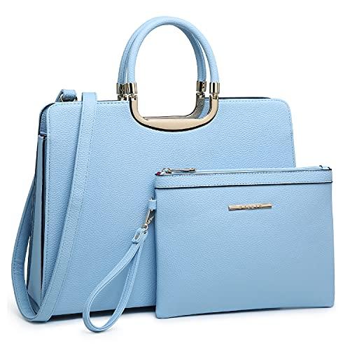 Womens Handbag Top Handle Shoulder Bag Tote Satchel Purse Work Bag with Matching Wallet (1-Light Blue)