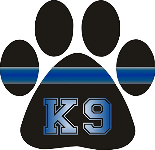 Evan Decals Thin Blue Line K9 Paw Print Reflective Window Decal Vinyl Sticker 6'