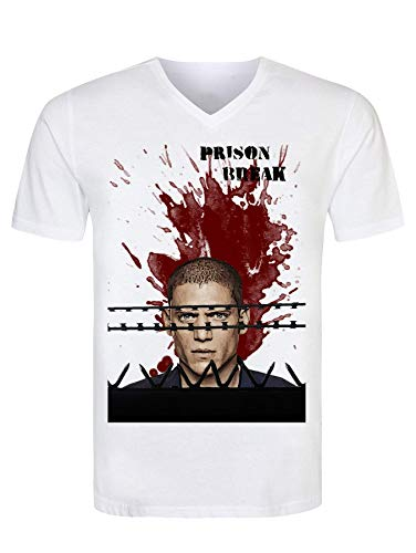 Prison Break Michael Scofield Character Cool Men's T-Shirt V Neck Herren Tshirt XX-Large