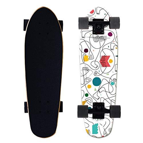 Skateboards Skateboard Maple Kleine Fische Brett Vier-Rad for Erwachsene Straße Board Männliche Und Weibliche Kurze Bord Kinder Skateboard Mini-Skateboard (Color : D, Size : 68.5 * 20.5cm)