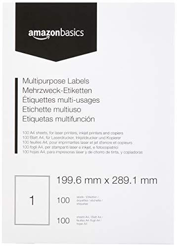 AmazonBasics - Etiquetas de dirección multiusos, 199.6mm x 289.1mm, 100 hojas, 1 etiquetas por hoja, 100 etiquetas