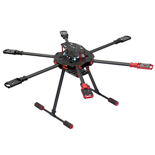 FEICHAO Kit Telaio Pieghevole a 6 Assi Interasse 705mm / 650mm con Pattino Carrello di atterraggio per Drone esacottero RC Fai-da-Te (705mm Wheelbase)