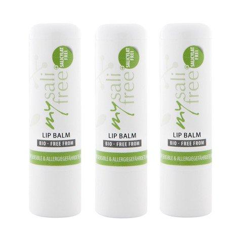 mysalifree BIO LIPPENBALSAM 5ml, 100% nat. intensive Lippenpflege für sensible Haut, mit Bienenwachs + Kakaobutter, 100% zert. Biokosmetik, weltweit einzigartig, BIO+FREE FROM