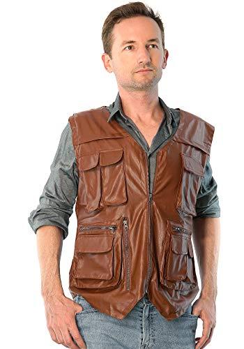 ComfyCamper Men Jurassic Dinosaur Hunter Wrangler Cosplay Leather Vest Costume, Mens Small Light Brown