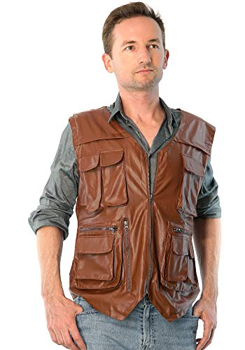 ComfyCamper Men Jurassic Dinosaur Hunter Wrangler Cosplay Leather Vest Costume, Mens X-Large, Light Brown