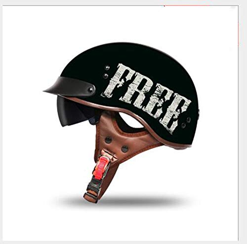 Medio casco de motocicleta clásica, casco retro abierto con gafas, adecuado para motocicletas de crucero, casco de ciclomotor forrado desmontable unisex, certificación DOT/ECE F,XXL