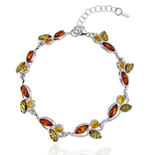 Copal Damen Armband Bernstein Silber 925 Natur Bunt Längen-verstellbar Geschenkverpackung Kleine Geschenke