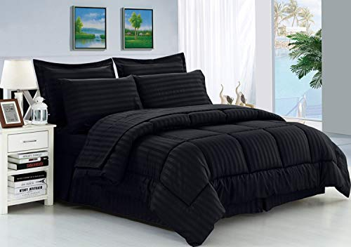 Elegance Linen Wrinkle Resistant - Luxury Silky Soft Dobby Stripe Bed-in-a-Bag 8-Piece Comforter Set --Hypoallergenic - Full/Queen, Black
