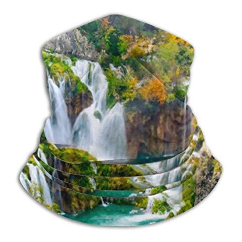 AEMAPE Calentador de Cuello - Polaina de Cuello, Calentador de Orejas Diadema Vista Detallada Hermosas cascadas Sunshine Plitvice Versatility Scarf