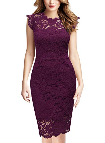Miusol Women's Retro Floral Lace Slim Evening Cocktail Mini Dress (Medium, Magenta)