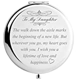 Daughter Wedding Gift from Mom Dad, Bride Gifts for Wedding Day, Engraved Makeup Mirror for Wedding Keepsake (Daughter Wedding Day Gift)