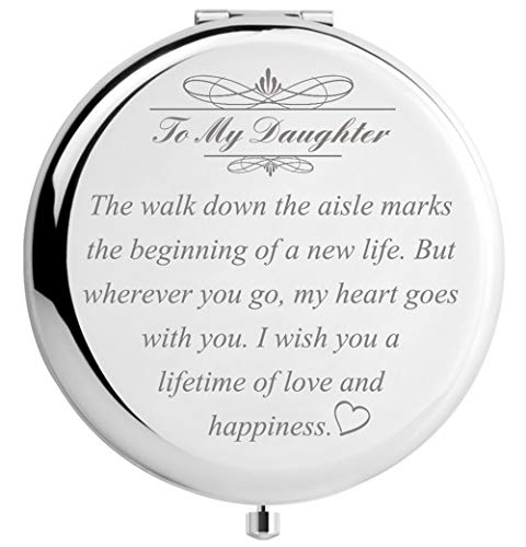 DIDADIC Daughter Wedding Gift from Mom Dad, Bride Gifts for Wedding Day, Engraved Makeup Mirror for Wedding Keepsake (Daughter Wedding Day Gift)