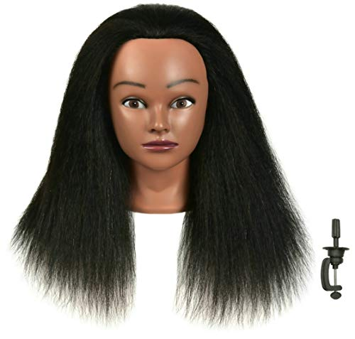 FUTAI Mannequin Head with Human Hair Manikin Cosmetology Makeup Doll Heads with Stand for Display Practice Braiding Styling Training Coloring Bleaching Dyeing Curling Cutting Updos