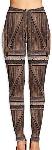 Leggings de Entrenamiento Deportivo con pantalón de Yoga Wooden Barn Door in Stone Farmhouse High Waist Tummy Control Womens Yoga Workout Pantsn