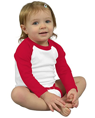 Monag Long Sleeve Raglan Bodysuit 12-18M White/Red