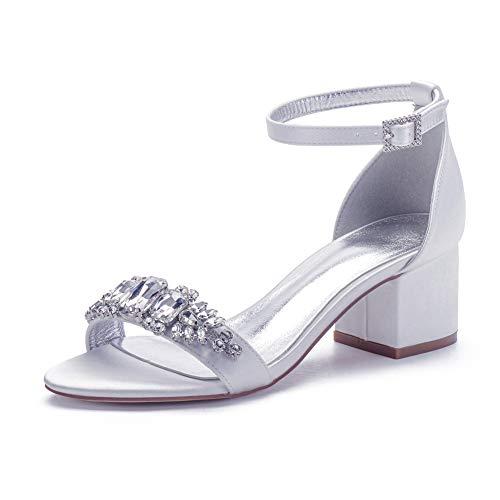 LGYKUMEG Damen Brautschuhe, Peep Toe High Heels Sandalen mit Strass Satin Hochzeitsschuhe,Weiß,40EU/9US/7UK