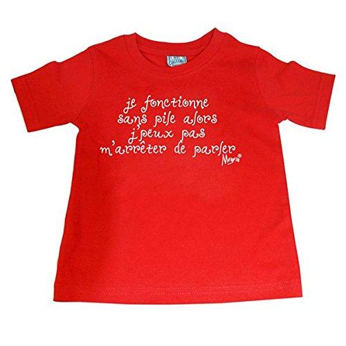 Tee Shirt Coton je Fonctionne sans Pile alors j'peux pas m'arreter de Parler Rouge Taille 2 ans
