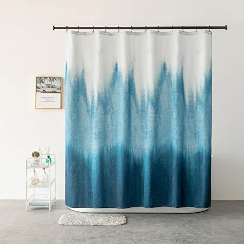 Xiongfeng Duschvorhang Textil aus Polyeater Blau Farbverlauf Wasserdicht Blickdicht Duschvorhänge Tinte Kunst Muster Vorhang mit Verstärkte Löcher & Beschwertem Saum, 12 Duschvorhangringen, 180x180