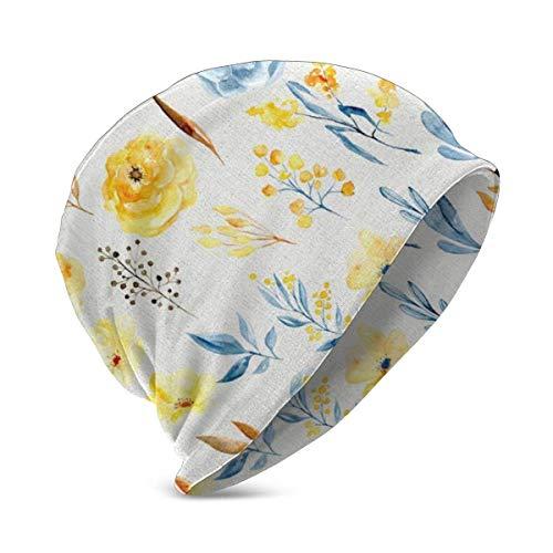 AEMAPE Gorro, Gorro de acrílico con Flores Azules y Amarillas, Gorro de Invierno para niños, Ropa de Trabajo