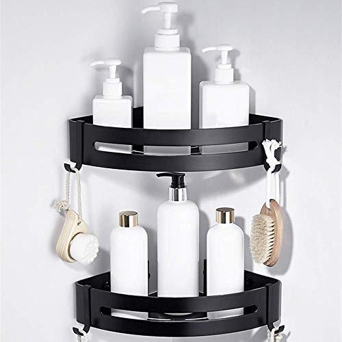 CROSOFMI Estanteria Baño Esquina Estante Ducha de Esquina a Prueba de Herrumbre para Organizador de Cocina de Baño Aluminio (Triángulo, Negro,2 Paquetes)