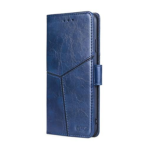 SCRENDY Funda para iPhone 13, [Vintage de Billetera Cuero de la PU] Magnético Carcasa con Tapa Abatible y Ranuras para Dinero y Tarjeta de Crédito-Azul