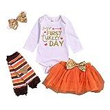 10Pcs Baby Girl My First Thanksgiving Outfit Turkey Letter Print Romper+Tutu Skirt+Love Leg Warmers+Headband Clothes Set Orange