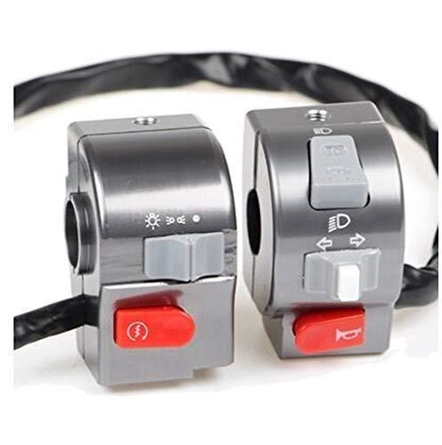 Interruptor del manillar de la motocicleta 7/8' 22 mm Luz de control del manillar Cuerno interruptor, fácil de instalar (Color : Grey)