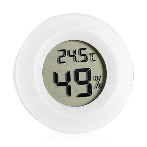 Zerodis Digital Thermometer Hygrometer Innentemperatur Feuchtigkeits Meter Detektor runder elektronischer Thermometer mit LCD Anzeige für Auto Küche Innengarten Keller Kühlschrank Schrank