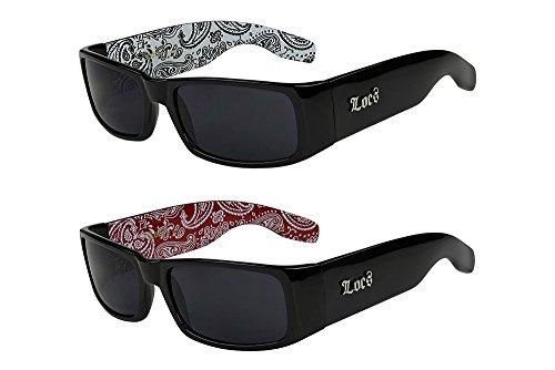 X-CRUZE® 2er Pack Locs 9006 X12 Sonnenbrillen Herren Brille - 1x Modell 04 (schwarz glänzend - Bandana-Design weiß / schwarz getönt) und 1x Modell 06 (schwarz glänzend - Bandana-Design rot / schwarz getönt)