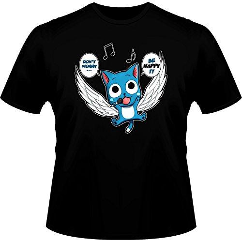 Fairy Tail Lustiges Schwarz T-Shirt - Happy (Fairy Tail Parodie) (Ref:477)