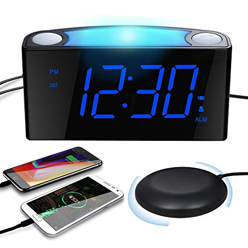 """Extra Loud Vibrating Alarm Clock with Bed Shaker for Heavy Sleepers, Digital Alarm Clock with Dual USB Charger for Deaf Hearing-Impaired, 7"""" Display & Full Range Dimmer, Colored Light & Battery Backup"""