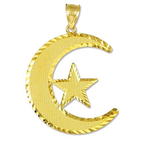 Middle Eastern Jewelry 14k Gold Islamic Charm Crescent Moon and Star Pendant