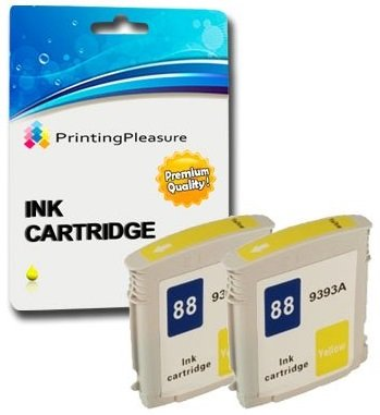 Printing Pleasure 2 Tintenpatronen kompatibel zu HP 88XL mit Chip für HP Officejet Pro K550 K550dtn K5300 K5400 K5400dn K5400dtn K5400n K8600 K8600dn L7500 L7580 L7680 L7780 - Gelb, hohe Kapazität