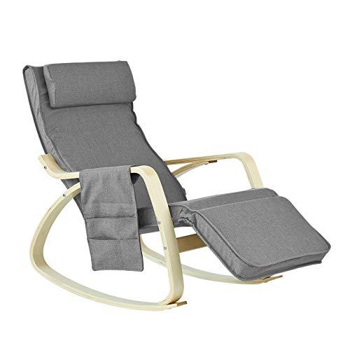 SoBuy® FST18-DG éponge plus épais, Rocking Chair Fauteuil à bascule berçante avec repose-pieds réglable Bouleau + 1 pochette latérale gratuite